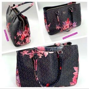 GUESS Asheville Handbag Logo Satchel Floral Brown